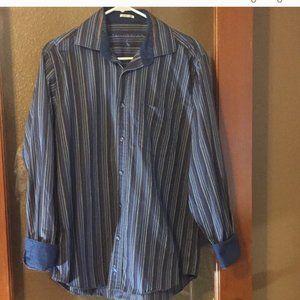 Tailor Byrd striped long sleeve flip cuff shirt M